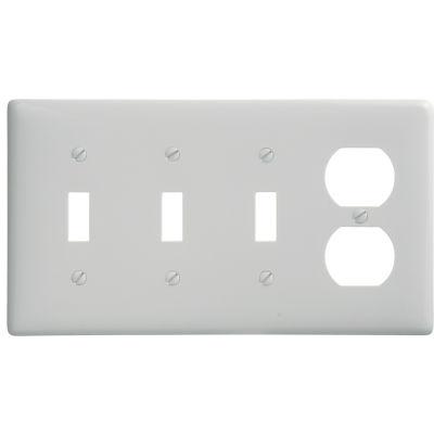 Bryant NP38W Toggle Duplex Combo Plate, 4-Gang, Standard, White Nylon