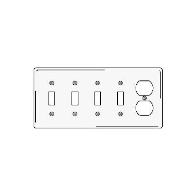 Bryant NP48W Toggle Duplex Combo Plate, 5-Gang, Standard, White Nylon