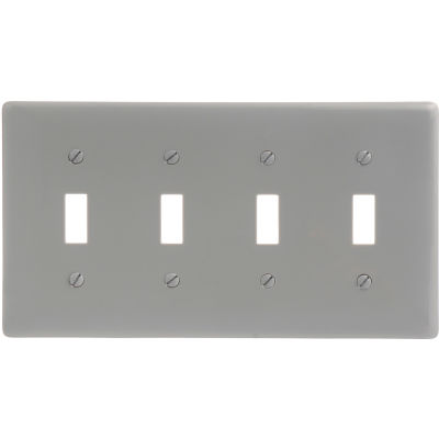 Bryant NP4GY Toggle Plate, 4-Gang, Standard, Gray Nylon