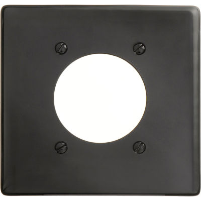 Bryant NP703BK Single Receptacle Plate, 2-Gang 1 Device-Gang, Standard, Black Nylon