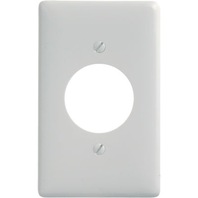 Bryant NP720W Single Receptacle Plate, 1-Gang, Standard, White Nylon, 1.60 open