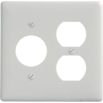 Bryant NP78W Single Duplex Combo Plate, 2-Gang, Standard, White Nylon