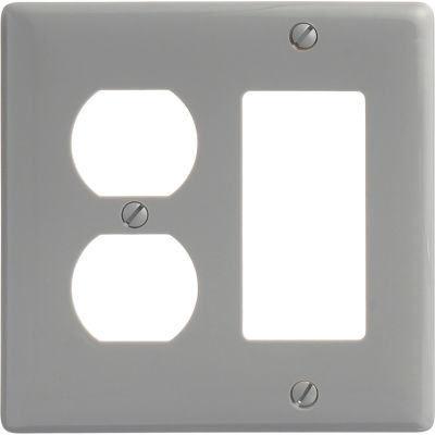 Bryant NP826GY Duplex Styleline Combo Plate, 2-Gang, Standard, Gray Nylon