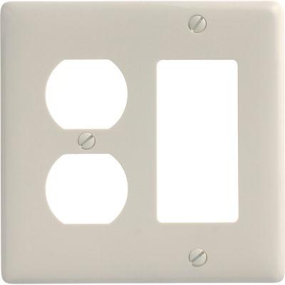 Bryant NP826LA Duplex Styleline Combo Plate, 2-Gang, Standard, Light Almond Nylon