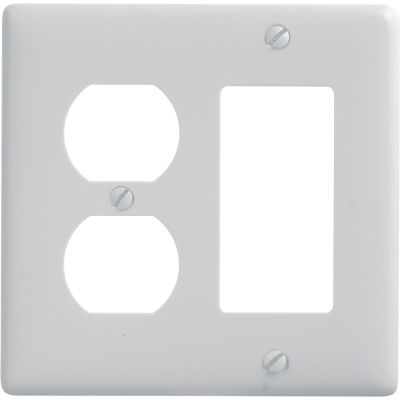 Bryant NP826W Duplex Styleline Combo Plate, 2-Gang, Standard, White Nylon