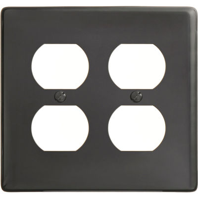 Bryant NP82BK Duplex Plate, 2-Gang, Standard, Black Nylon