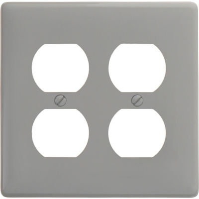 Bryant NP82GY Duplex Plate, 2-Gang, Standard, Gray Nylon