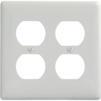 Bryant NP82W Duplex Plate, 2-Gang, Standard, White Nylon