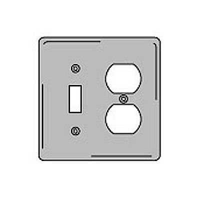 Bryant NPJ18GY Toggle Duplex Combo Plate, 2-Gang, Mid-Size, Gray Nylon