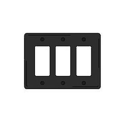 Bryant NPJ263BK Styleline Rectangular Plate, 3-Gang, Mid-Size, Black Nylon
