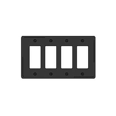 Bryant NPJ264BK Styleline Rectangular Plate, 4-Gang, Mid-Size, Black Nylon