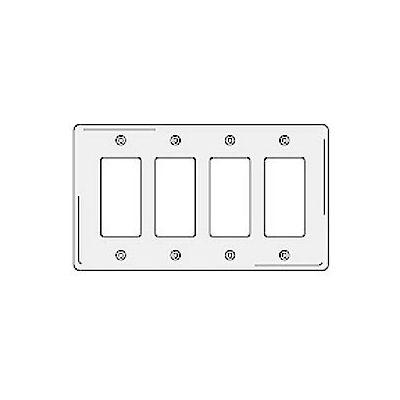 Bryant NPJ264W Styleline Rectangular Plate, 4-Gang, Mid-Size, White Nylon