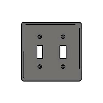 Bryant NPJ2GY Toggle Plate, 2-Gang, Mid-Size, Gray Nylon