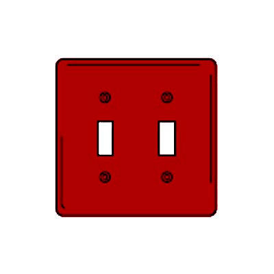 Bryant NPJ2R Toggle Plate, 2-Gang, Mid-Size, Red Nylon