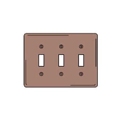 Bryant NPJ3 Toggle Plate, 3-Gang, Mid-Size, Brown Nylon