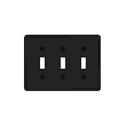 Bryant NPJ3BK Toggle Plate, 3-Gang, Mid-Size, Black Nylon