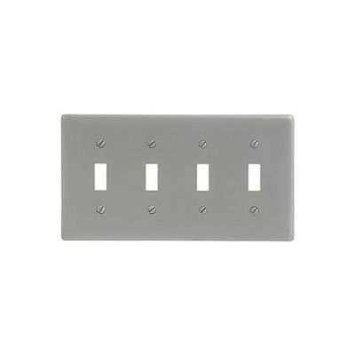 Bryant NPJ4GY Toggle Plate, 4-Gang, Mid-Size, Gray Nylon