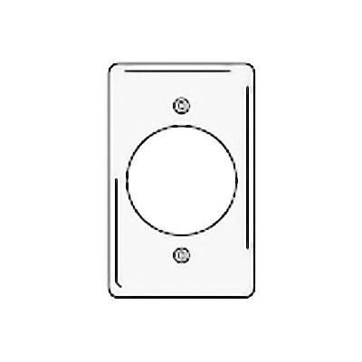 Bryant NPJ724W Single Receptacle Plate, 1-Gang, Mid-Size, White Nylon, 2.15 open