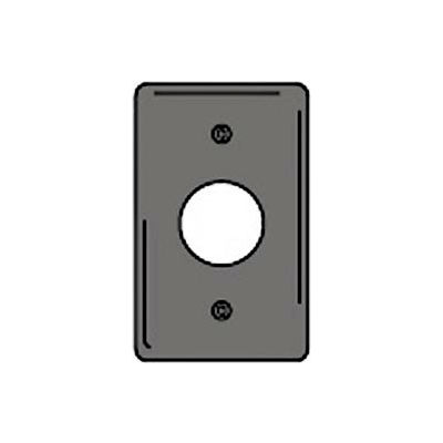 Bryant NPJ7GY Single Receptacle Plate, 1-Gang, Mid-Size, Gray Nylon, 1.40 open