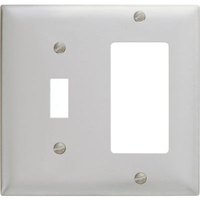 Bryant SS126 Toggle Styleline Combo Plate, 2-Gang, Standard, Satin Stainless