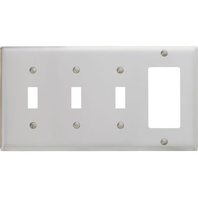 Bryant SS326 Toggle Styleline Combo Plate, 4-Gang, Standard, Satin Stainless