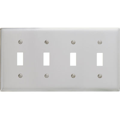 Bryant SS4 Toggle Plate, 4-Gang, Standard, Satin Stainless
