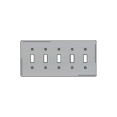 Bryant SS5 Toggle Plate, 5-Gang, Standard, Satin Stainless