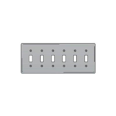 Bryant SS6 Toggle Plate, 6-Gang, Standard, Satin Stainless