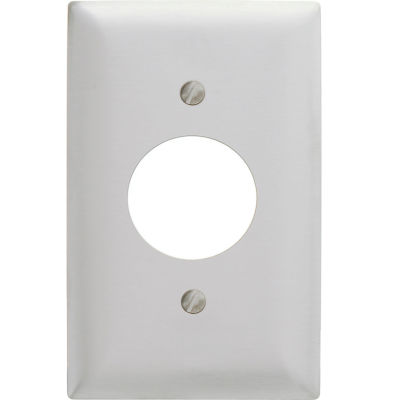 Bryant SS7 Single Receptacle Plate, 1-Gang, Standard, Satin Stainless, 1.40 open