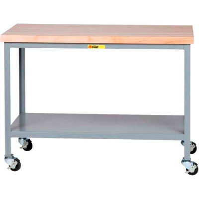 """Little Giant® Mobile Maple Top Table, Lower Shelf - 36""""W x 24""""D x 35""""H"""