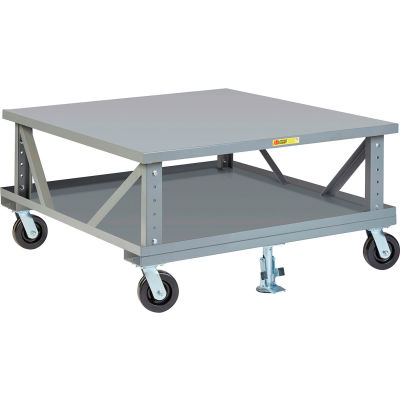 Little Giant® Ergonomic Adj. Height Mobile Pallet Stand 2PDSE48486PH2FL - 48 x 48 Solid Deck