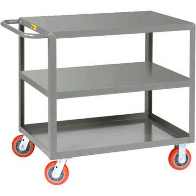 Little Giant® All Welded Service Cart 3LG-3060-6PY, 3 Flush Shelves, 30 x 60 2000 Lb. Cap.