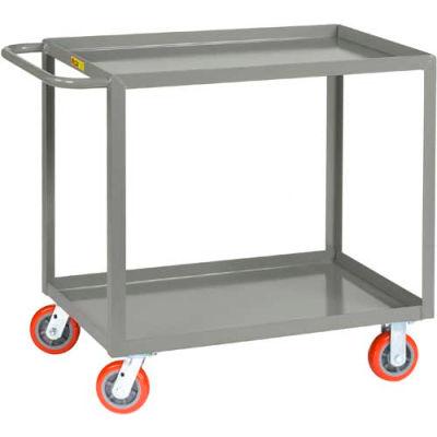 Little Giant® All Welded Service Cart LGL-2448-6PY, 2 Lip Shelves, 24 x 48, 2000 Lb. Cap.