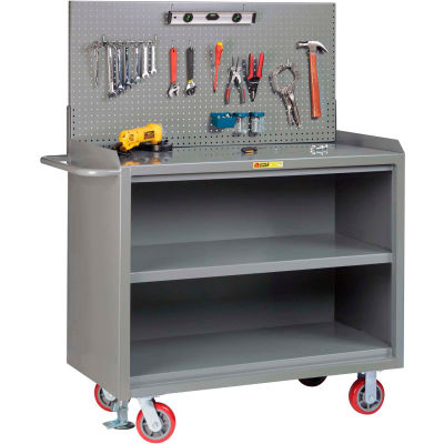 "Little Giant MB3-2448-FL-PB 48""W x 24""D Mobile Service Bench, Center Shelf, Powder Coated Steel Top"