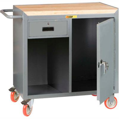 "Little Giant MCJ1D2436-1DRTL Mobile Bench Cabinet, 1 Drawer, 1 Door, Butcher Block Top 36""W x 24""D"