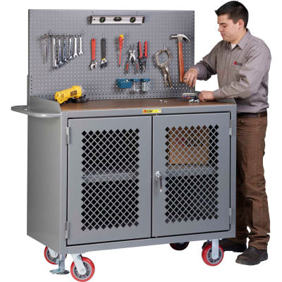"Little Giant MHP3-2D-FL-PB 48""W x 24""D Mobile Workbench, Center Shelf, 1/4"" Hardboard Top"