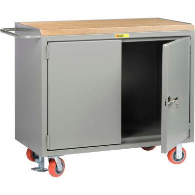 "Little Giant MJ-2D-2448-FL Mobile Bench Cabinets, Butcher Block Top, 2 Doors - 48""W x 24""D x 41""H"
