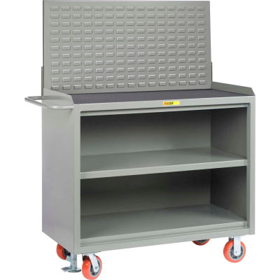 "Little Giant MM3-2448-FL-LP 48""W x 24""D Mobile Service Bench, Center Shelf, Non-Slip Vinyl Top"