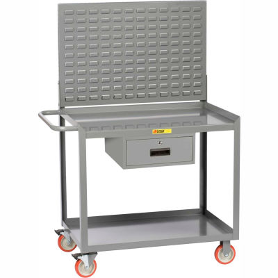 """Little Giant MW2436-5TL-DRLP 36""""W x 24""""D Mobile Workstation with Storage Drawer, 2 Shelves"""