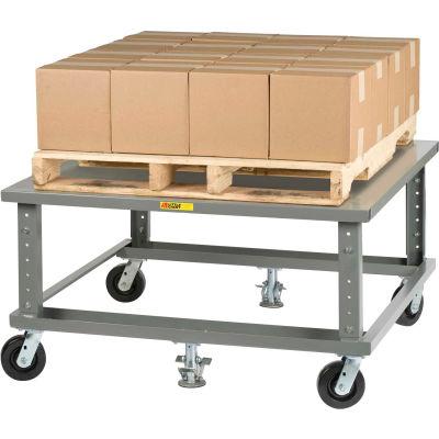 Little Giant® Ergonomic Adj. Height Pallet Stand PDSE4048 - Solid Deck 40 x 48 with Floor Locks