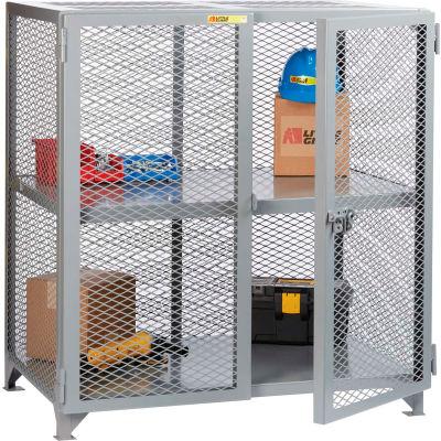 "Little Giant® Welded Storage Locker w/Center Shelf, Mesh Sides, 61""W x 27""D x 52""H"
