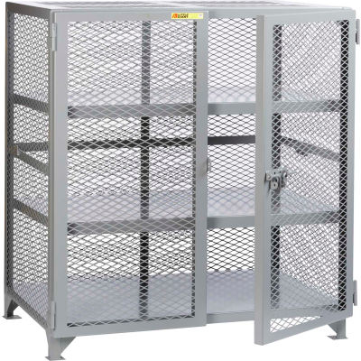"Little Giant® Welded Storage Locker w/2 Center Shelves, Mesh Sides, 61""W x 33""D x 52""H"