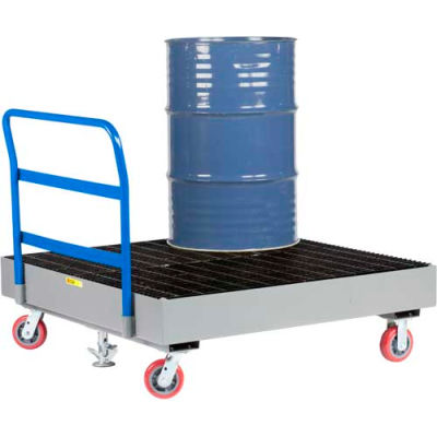 Little Giant® 4 Drum Spill Containment Cart with Floor Lock SSB-5151-6PY-FL