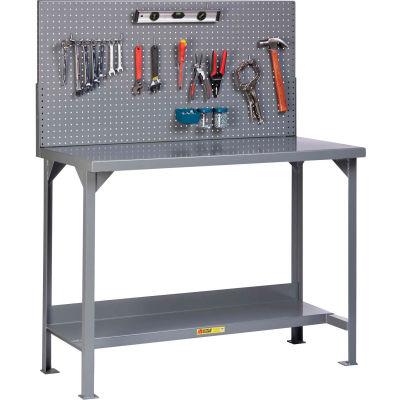 "Little Giant WST2-3672-36-PB 72""W x 36""D Fixed Height Workbench, Lower Shelf, Pegboard Panel"
