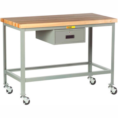 "Little Giant® WT-2448-3R-DR Mobile Butcher Block Top Tables, Drawer - 48""W x 24""D x 35""H"