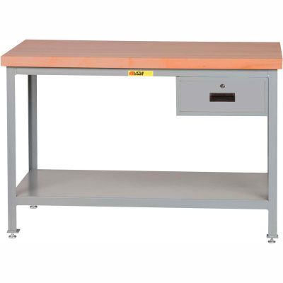 "Little Giant WTS-3072-LL-DR 72""W x 30""D Butcher Block Top Tables,  2 Shelf, Drawer"