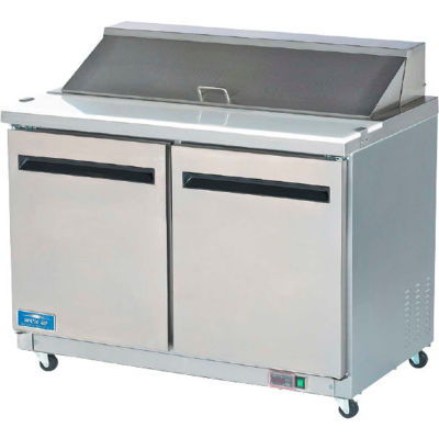 "Arctic Air AMT60R - Sandwich/Salad Prep Table, 2 Door, White, 15.5 Cu. Ft., 61-1/4""W x 43-1/4""H"