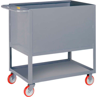 Little Giant® Raised Platform Box Trucks w/Lower Shelf, 4 Solid Sides 18x32, Poly Wheels
