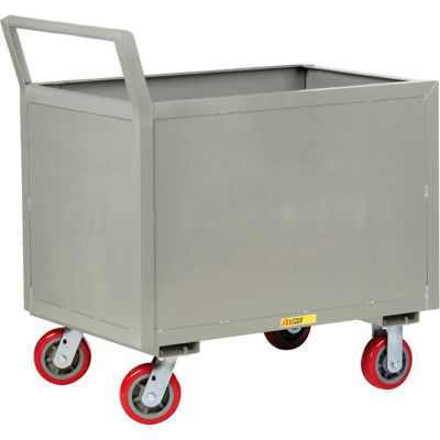 Little Giant® 4-Sided Box Trucks w/Ergo Handle, Solid Sides, 2000 lb, 30x48, Poly Wheels