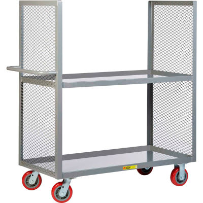 "Little Giant® 2-Sided Shelf Trucks, 2 Lipped Shelves, 24x48, 6"" Poly Wheels"